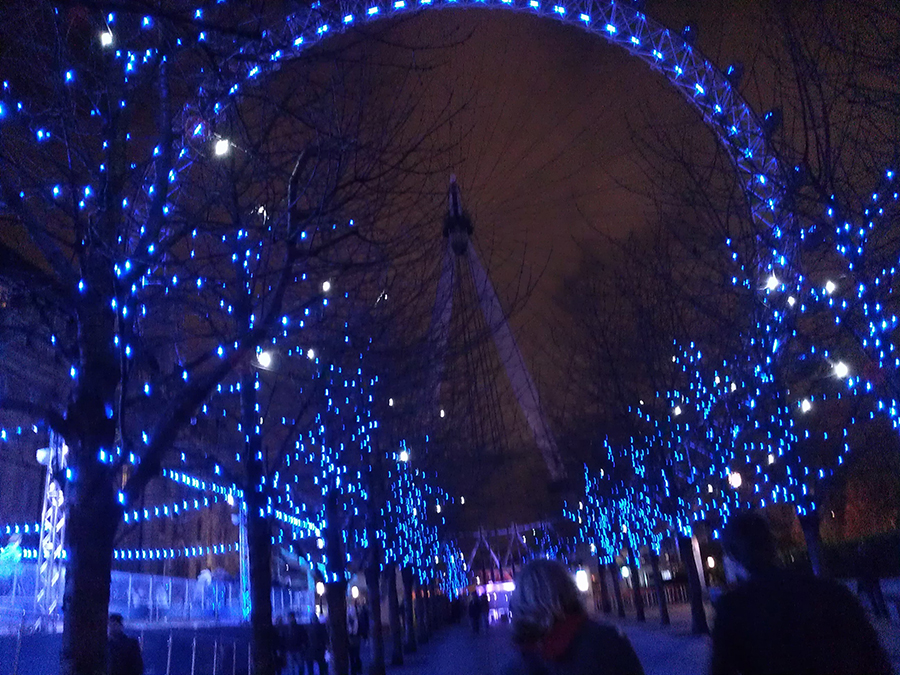 The London Eye with pretty blue lights